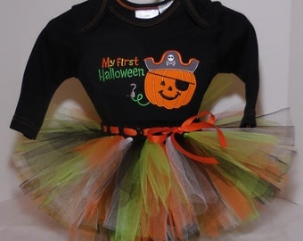 """3/6 months cute """"My First Halloween"""" pirate Onesie and Tutu set for baby girl Halloween outfit"""