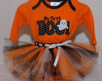 "3/6 6/9 months  adorable ""My First Boo""  Onesie and Tutu outfit set for baby girl Halloween costume  m month size"