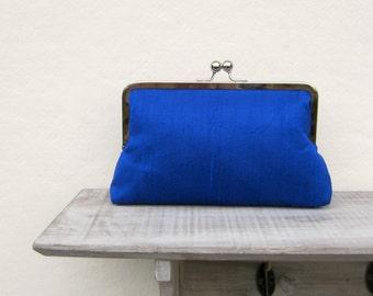 Royal blue bridal clutch bag, wedding clutch, royal blue bridesmaid clutch, silk evening clutch, clutch purse, electric blue clutch bag