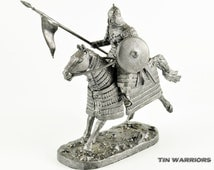 Mongol Heavy cavalry. Metal miniature sculpture. Collection 54mm 1/32 miniature figurine. Tin toy soldiers shop