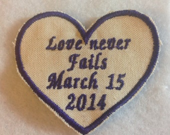 Embroidered tie label, groom, father of the bride