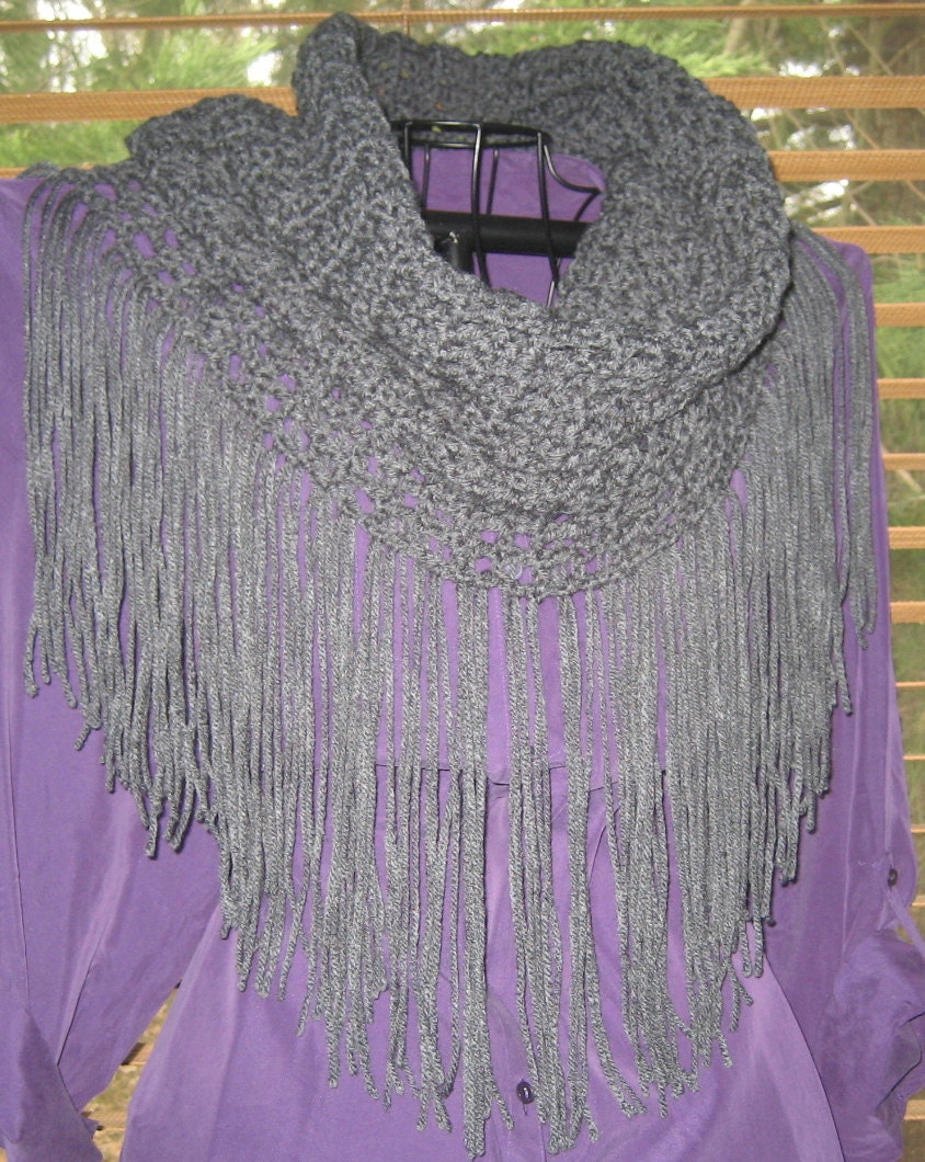 Crochet Infinity Scarf With Fringe Pattern : Infinity Scarf Crochet PATTERN ONLY......Infinity Scarf