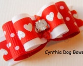 Dog Bow 5/8 Valentine's Day Hearts with Crystal Center