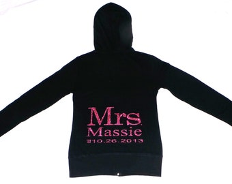 Mrs. / Last Name hoodies.Personalized date Hoodie. Zip Up Hoodie. Bridesmaid.  Wedding Bridal Party. Maid of Honor. Wedding Clothing.