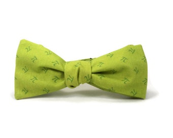 Pi bowtie, math bowtie, pi day, science bowtie, pi day, apple pi bowtie, green pi bowtie, pi day accessory, grass green bowtie