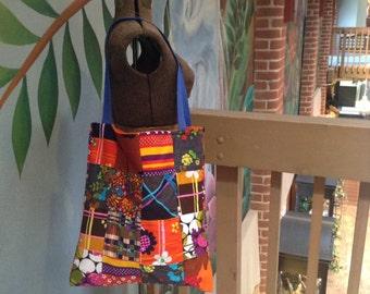 1970s Fabric Market Bag. Patchwork.