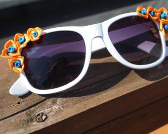 White and Orange Floral Sunglasses