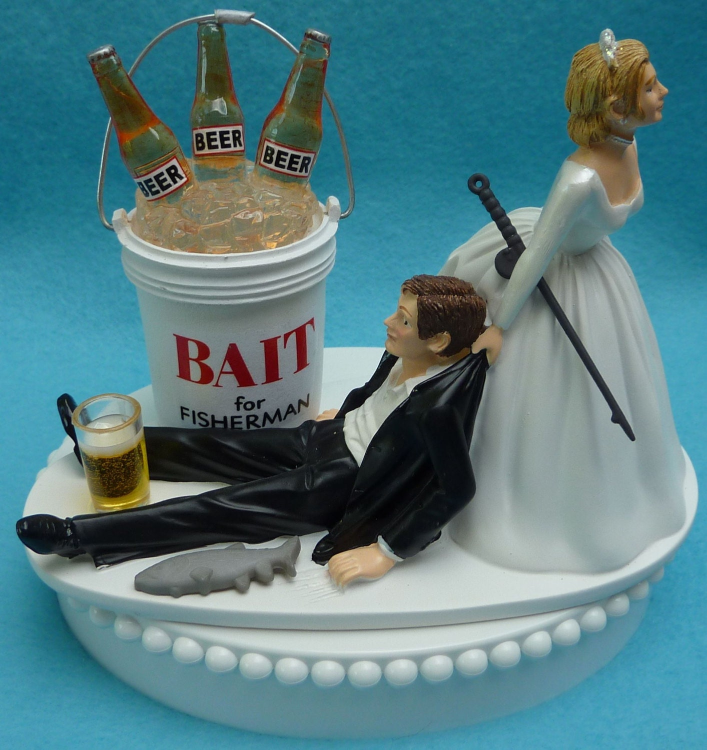 beer wedding cake topper wedding cake topper fishing bait fisherman fish pole 11259