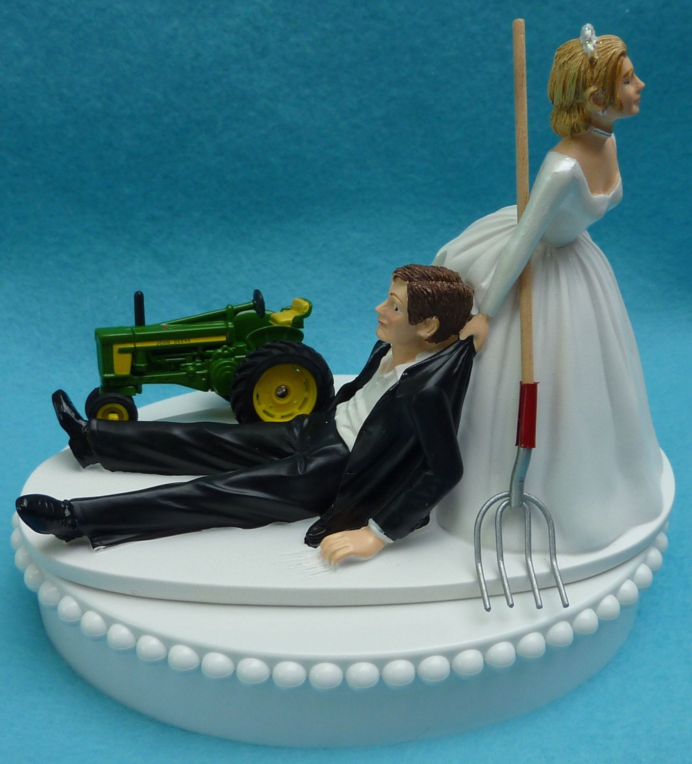 Wedding Cake Topper John Deere Green Tractor Themed W Bridal