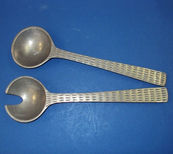 pewter serving spoon fork