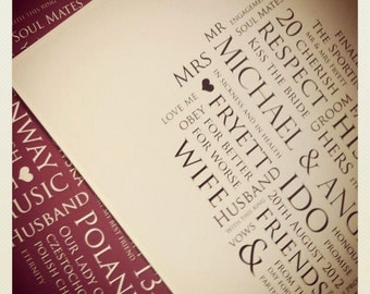 Personalised Wedding / Anniversary A3 Print, perfect gift