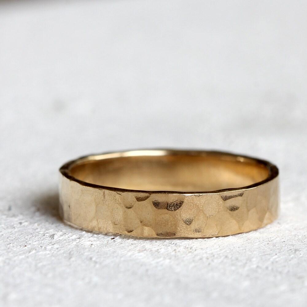 18k Gold Hammered Wedding Ring Solid Gold Wedding Band