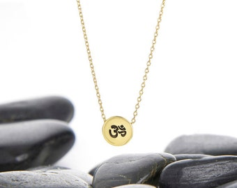 OM, Yoga Jewelry, OM Necklace, Necklace, OM charm, Pendant, yoga charm, yoga gift, Yoga Necklace, Gift Idea, Layer Necklace, JIN246SBR