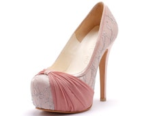 Custom Made Blush Pink Wedding Heels, Cover Toe Wedding Heels with Big Bow, Pink Wedding Shoes, Pink Bridal Shoes