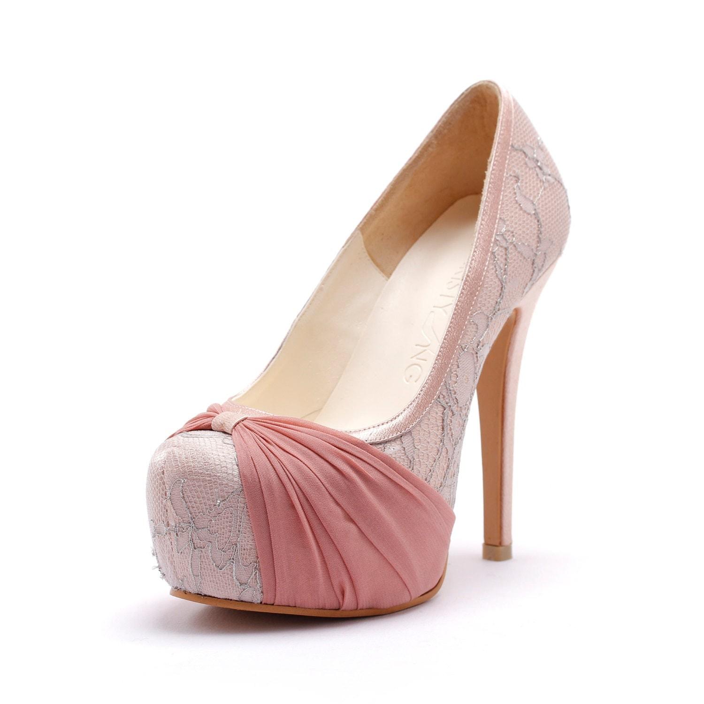 Custom Made Blush Pink Wedding Heels Cover Toe Wedding Heels
