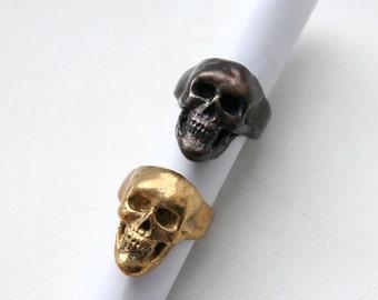 Human skull ring. Anatomical human skull brass ring.