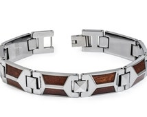TNB369-TY0  High Polished Tungsten Carbide Bracelet with Trapezoid-shaped Hawaiian Koa Wood Inlay