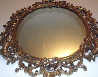 Vintage Syroco Mirror with Gold Flowers Scrolls / Hollywood Regency / Ornate Scroll Design