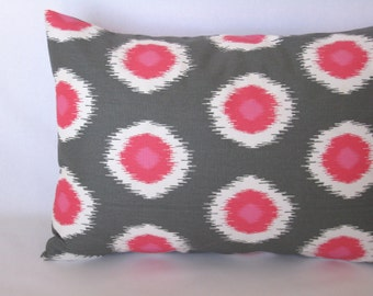Dog Bed Cover – Pet Bed Duvet - Grey and Pink Ikat Small Dog Bed – Puppy Bed – Little Dog Bed - Dachshund Bed