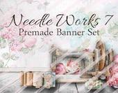 """Premade Shop Banner Set - Premade Etsy Banner Set - Etsy Shop Banner - Avatar - Facebook - """"Needle Works 7"""" Banner Set"""