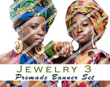 "Banner Set - Shop banner set - Premade Banner Set - Graphic Banners - Facebook Cover - Avatars - Bisiness Card - "" Jewelry 3"""