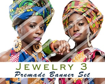 """Banner Set - Shop banner set - Premade Banner Set - Graphic Banners - Facebook Cover - Avatars - Bisiness Card - """" Jewelry 3"""""""