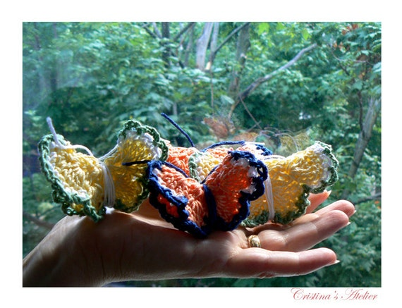 Fairy butterlies set of 4- Crochet 3d butterfly- Weddings hanging, surprise ring presentation, table romantic decor, birthday decor
