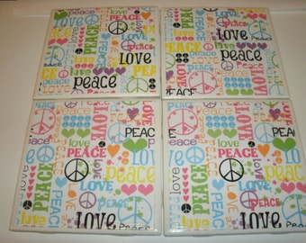 Table Coaster Set in 60's Era, Peace, Patterned Home, Office, Ceramic Tile Coasters.