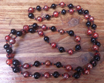 vintage red and black glass bead necklace