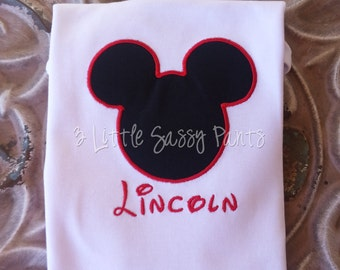 Mickey Mouse Embroidered Shirt- Mickey- Disney- Vacation- Birthday- Applique- Custom