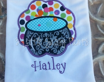 Halloween Embroidered Shirt- Cauldron Shirt- Girls Halloween Shirt- Witch Shirt- Witch Pot- Applique-Custom- Witch's Brew