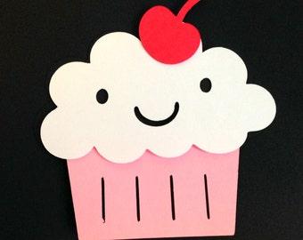12 Pink Cupcake 3 inch die cuts