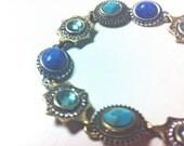 Bedouin Turquoise Lapis Stone Jewel Inlay Tribal Pendant Bracelet