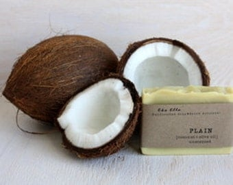 Plain, unscented, handmade cold process soap