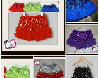 Baby, Toddler and Big Girl Sequin Petti Shorts w/ Chiffon Ruffles- Black, Red, Teal, Hot Pink, Light Pink, Royal Blue, Lime, Purple, Silver