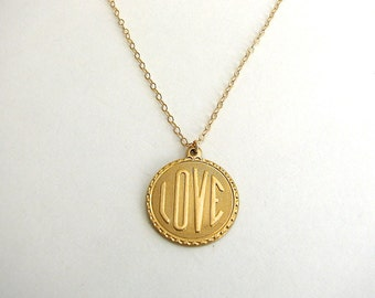 Raw Brass LOVE Pendant, Brass Pendant, Gold Love Necklace, Word Necklace - 14k Gold Filled Chain