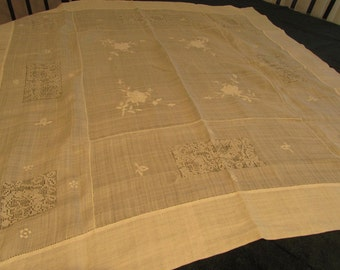 vintage european linen tablecloth, hand embroidered, drawn work