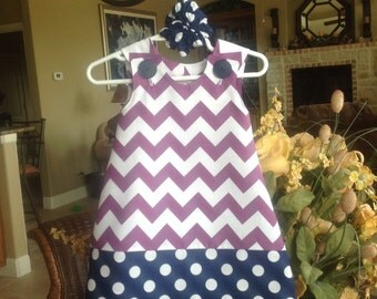 Purple Chevron and Navy Dots Dress (baby, infant, girl, child, toddler) jumper or sundress  -  with matching hair accessory.