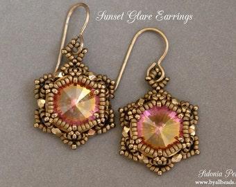 Beaded Earrings Tutorial - Sunset Glare Earrings - Rivoli Earrings Pattern - Digital Download