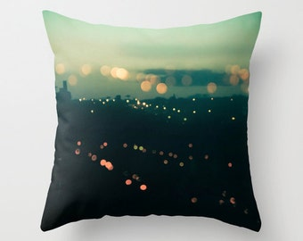 Abstract Lights Throw Pillow, Night Sky in green and orange