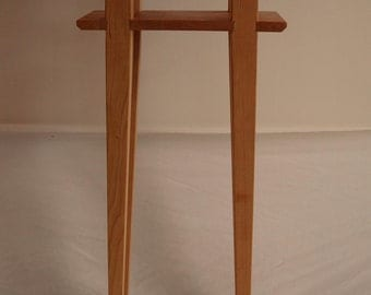 Cherry Asian Side Table with Shelf