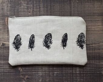 Feathers Pencil Case , Beige lineen  Pouch,  Pencil Case , Back to School, Cosmetic bag  , Zipper Pouch, ohtteam