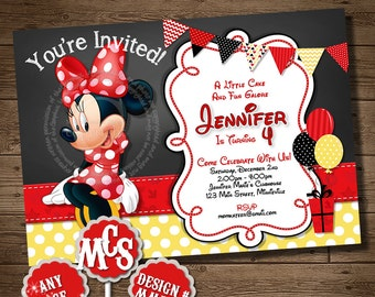 MINNIE MOUSE INVITATION, Chalkboard, Chalkboard Invitation,Yellow Polka Dot, Printable Invitation, My Celebration Shoppe, Minnie Mouse Card