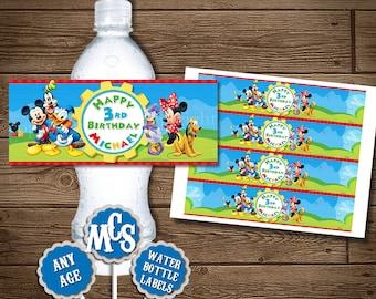 MICKEY MOUSE Water Bottle Wrapper, Water Bottle Label, Mickey Mouse, Clubhouse, Wrappers, Mickey Mouse Printable, My Celebration Shoppe, Diy