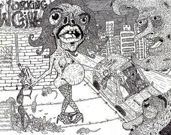 Working Girl - Pen & Ink Illustration