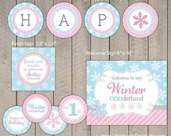 Winter Onederland Birthday Package / Winter Onederland Birthday Pack / Winter Onederland Decoration / Winter Onederland Printable / INSTANT