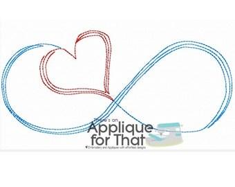 Infinity Heart Scribble Applique Design