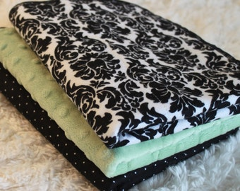 Damask and Green, Black and White Polka Dot, Baby Burp Cloths