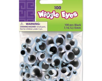 Wiggle Eyes Assortment, Assorted Sizes, Black, 100 / Pack