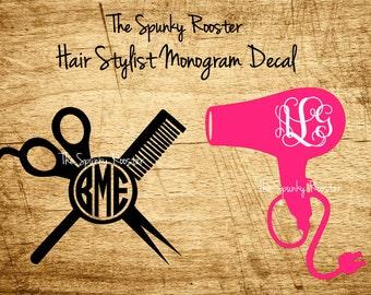 Spunky Hair Stylist Monogram Decal